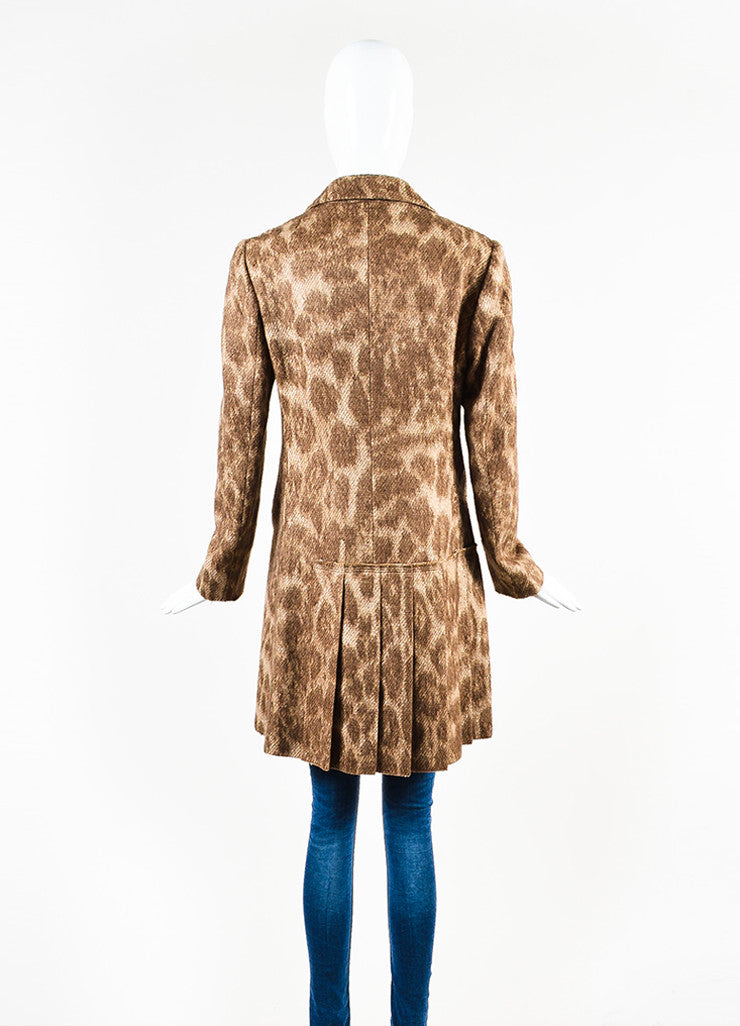 Prada Brown and Cream Mohair and Wool Blend Animal Spotted and Pleated Coat Backview