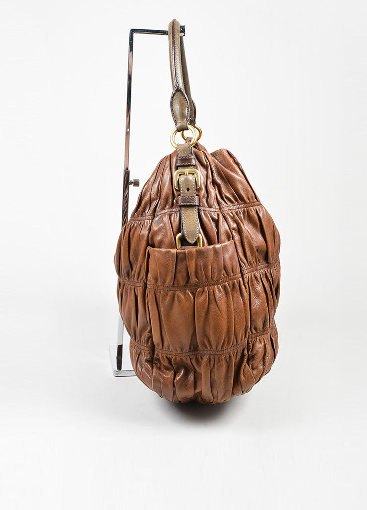 "Brown and Green Prada Nappa Leather Gaufre Ruched ""Sacca"" Hobo Bag Sideview"
