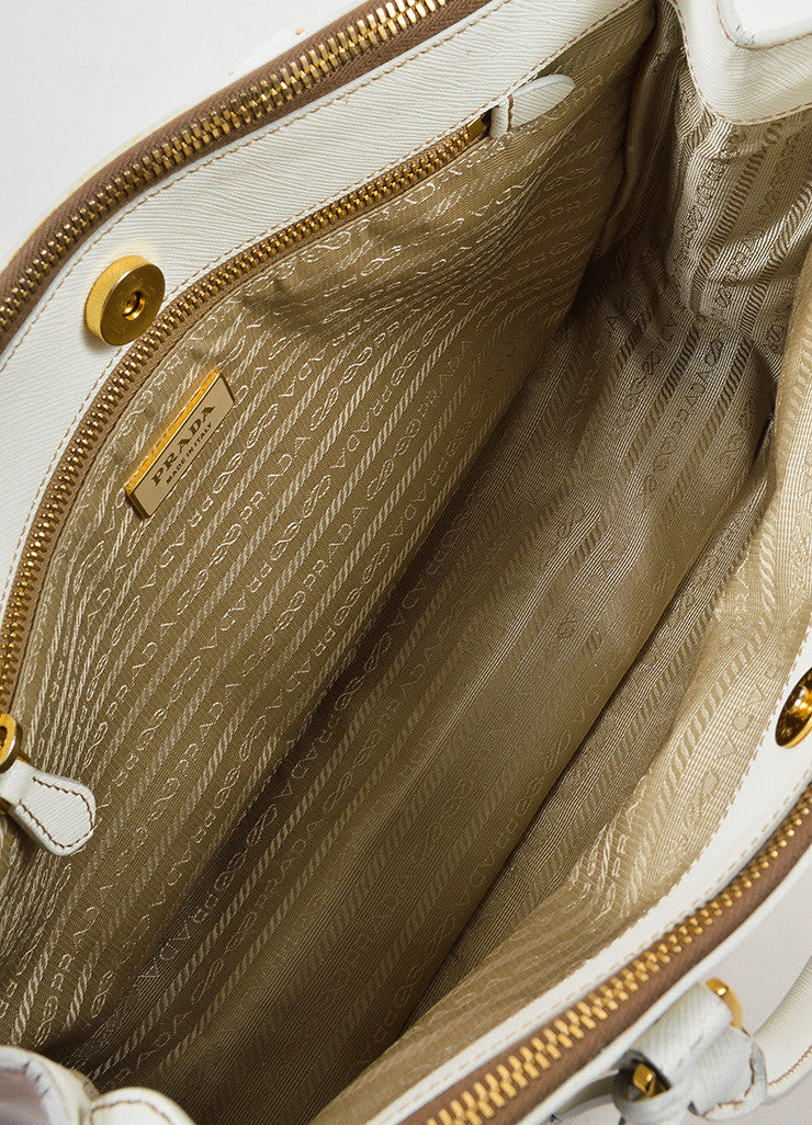 "Cream-White Prada Leather ""Saffiano Lux Small Double Zip"" Tote Handbag Interior"