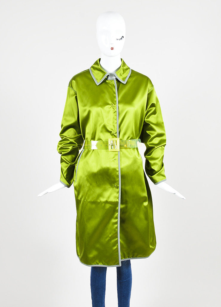 Prada Green and Grey Silk Belted Evening Coat Frontview