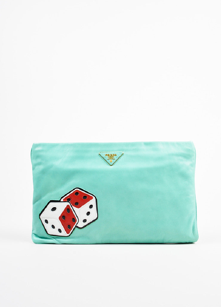 Prada Turquoise, Red, and White Leather Dice Patch Gold Toned Zip Clutch Bag Frontview