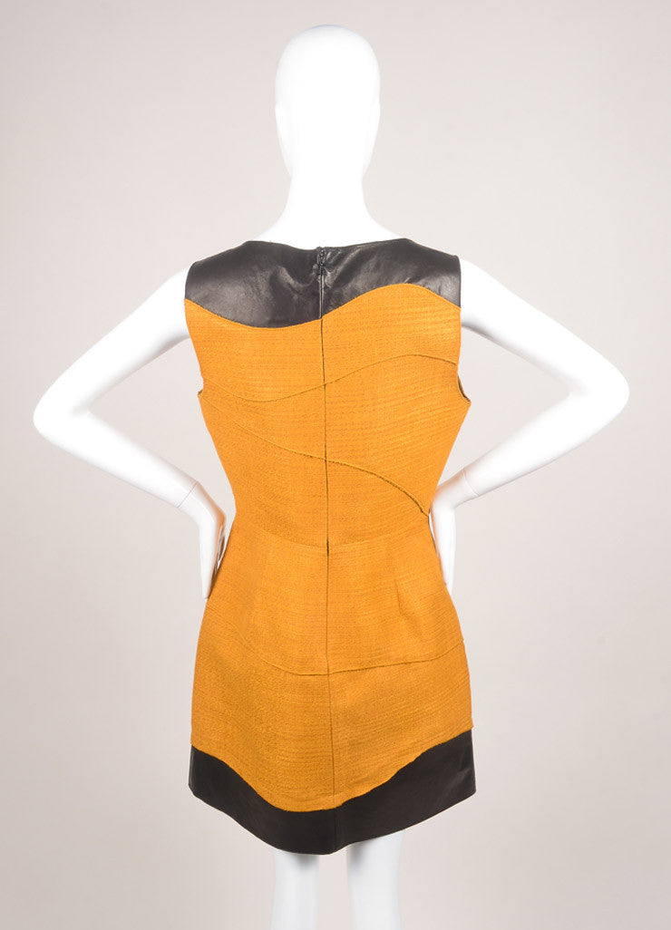Proenza Schouler New With Tags Camel and Black Leather and Wool Patchwork A-Line Dress Frontview