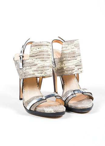 "Reed Krakoff Beige and Grey Lizard Skin Metallic Trim ""Solar"" Sandals Frontview"
