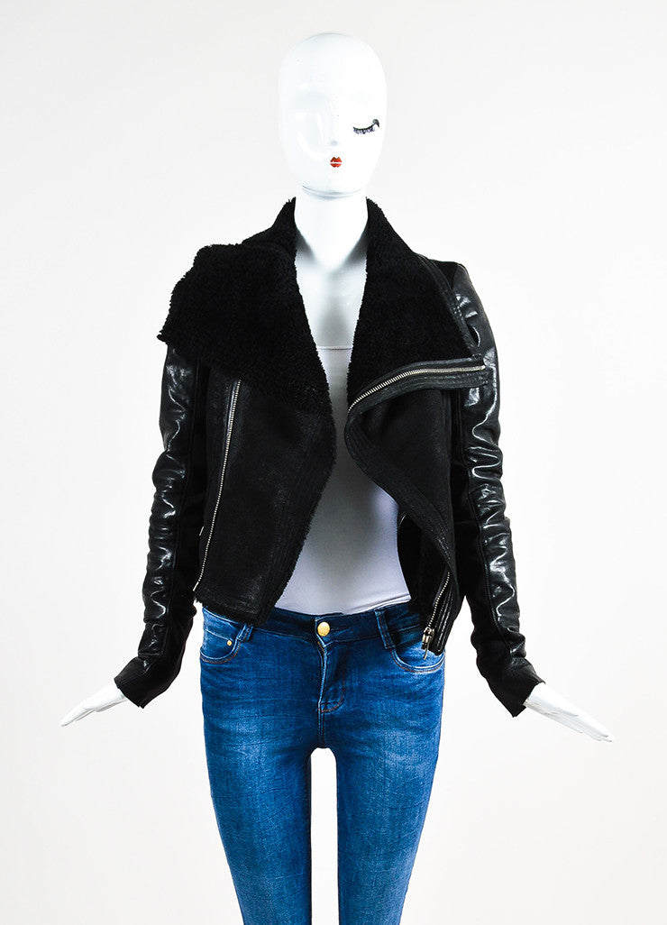Rick Owens Black Leather Shearling Knit Insert Moto Jacket Frontview