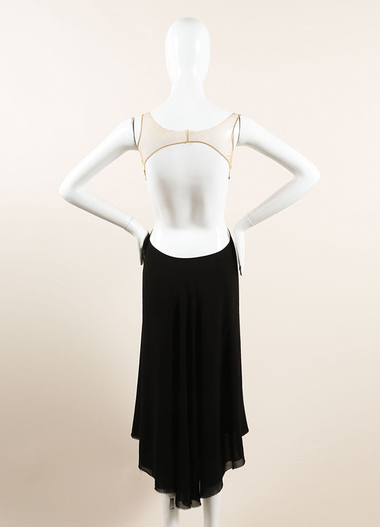 Rick Owens Black and Nude Silk Mesh Trim Open Back Cut Out Maxi Dress Backview