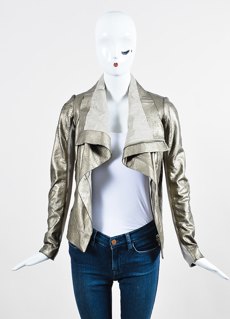 Rick Owens Metallic Gold Crackled Leather Wool Knit Zip Moto Jacket Frontview