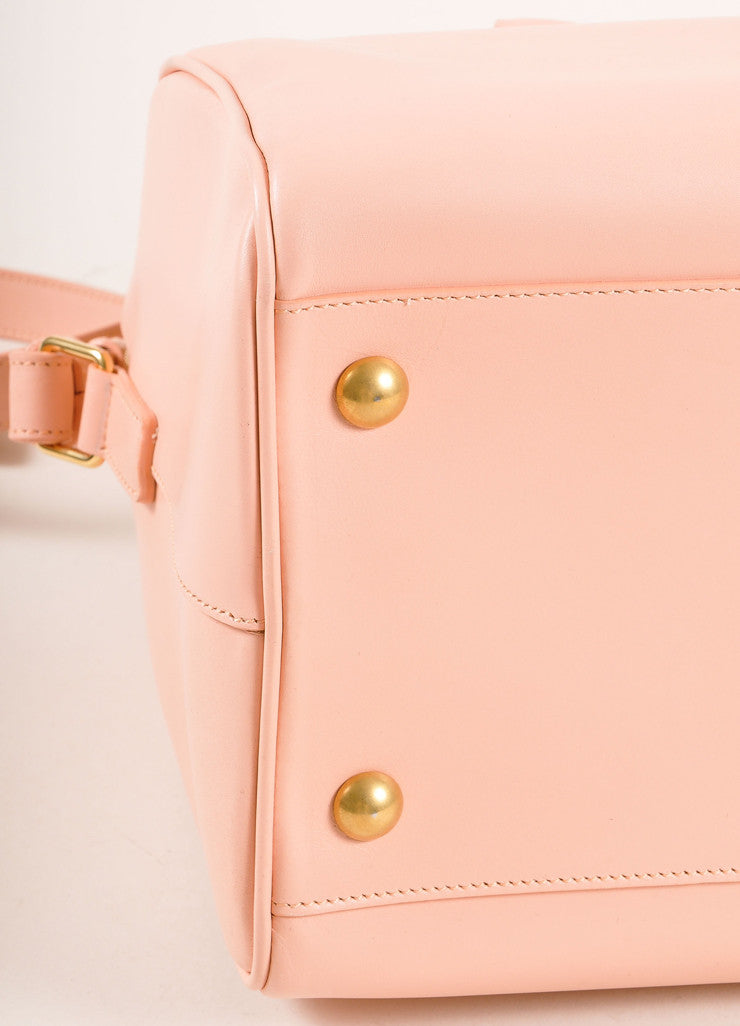 "Saint Laurent New With Tags Light Pink Leather ""Classic Duffle 6"" Handbag Detail"