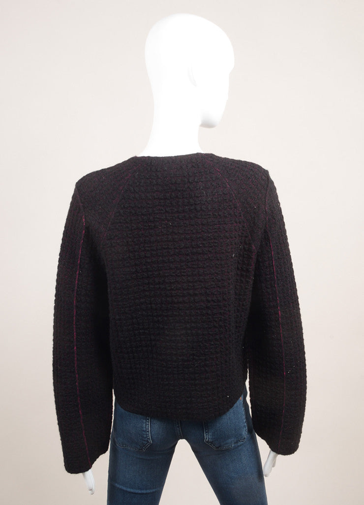"Sonia Rykiel New With Tags Black and Pink Waffle Knit ""Double-Face"" Long Sleeve Jacket Backview"