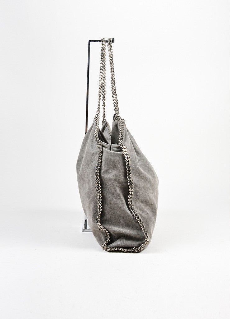"Grey Stella McCartney Faux Suede Silver Chain Trim ""Falabella"" Shoulder Bag Sideview"