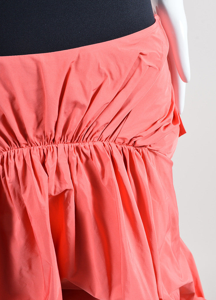 Coral Thakoon Ruched Tie Back Bustle High Low Skirt Detail