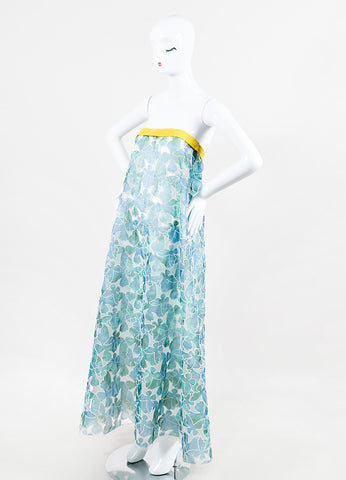 Thakoon Blue Green Embroidered Butterfly Strapless Maxi Dress angled