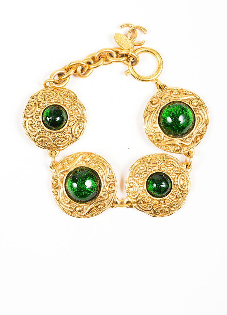 Gold and Green Chanel Gripoix Stone Medallion Bracelet Front