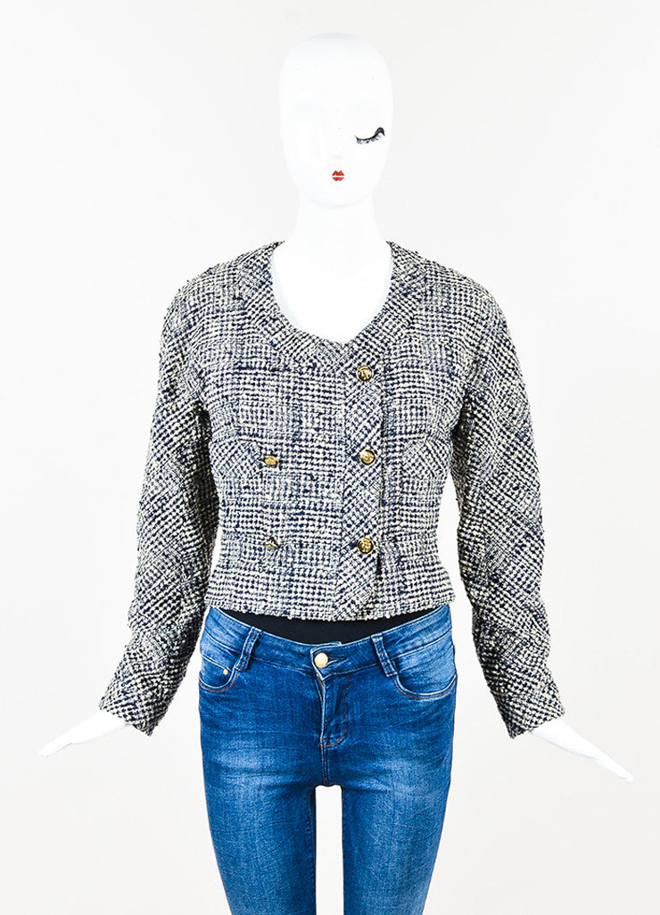 Chanel Navy and Cream Tweed Double Breasted Cropped Jacket Frontview 2