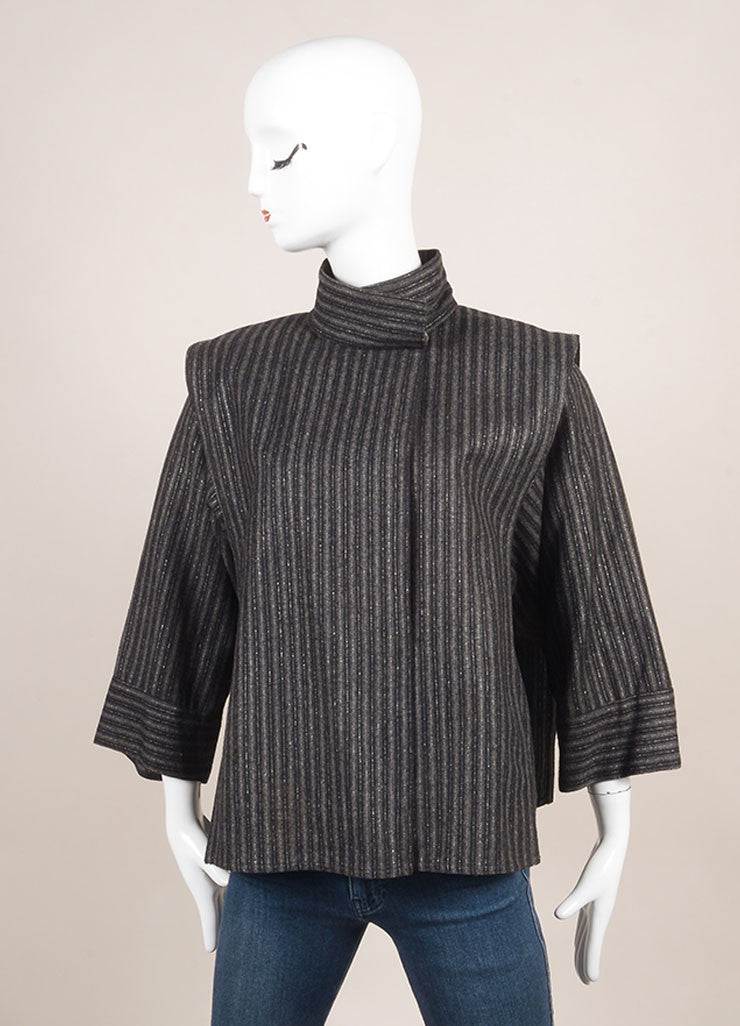 Chloe Black and Grey Silk and Wool Metallic Stripe Paneled Crop Sleeve Jacket Frontview
