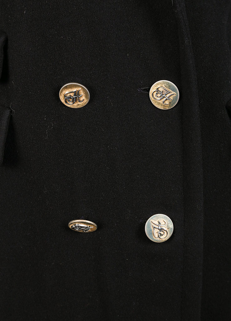 "Hermes Black ""H"" Button Double Breasted Longline Cashmere Coat Detail"