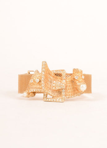 Hobe Gold Toned Metal Mesh Buckle and Rhinestone Accent Bracelet Sideview