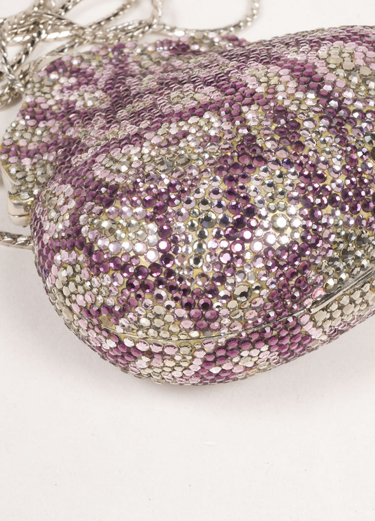Judith Leiber Silver Toned and Purple Rhinestone Embellished Chain Strap Shell Clutch Bag Detail