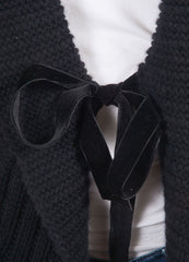 Valentino Black Cable and Popcorn Knit Wool and Velvet Tie Long Sleeve Sweater Cardigan Detail