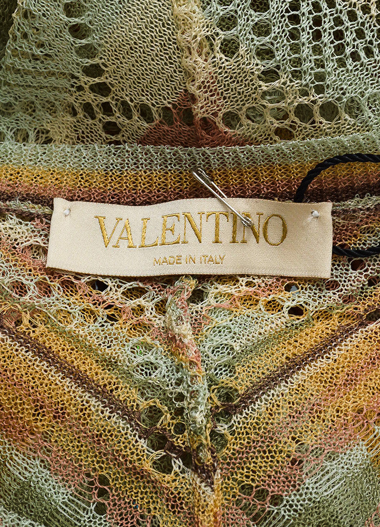 Brown, Cream and Green Valentino Silk Blend Striped Fringed Poncho Brand