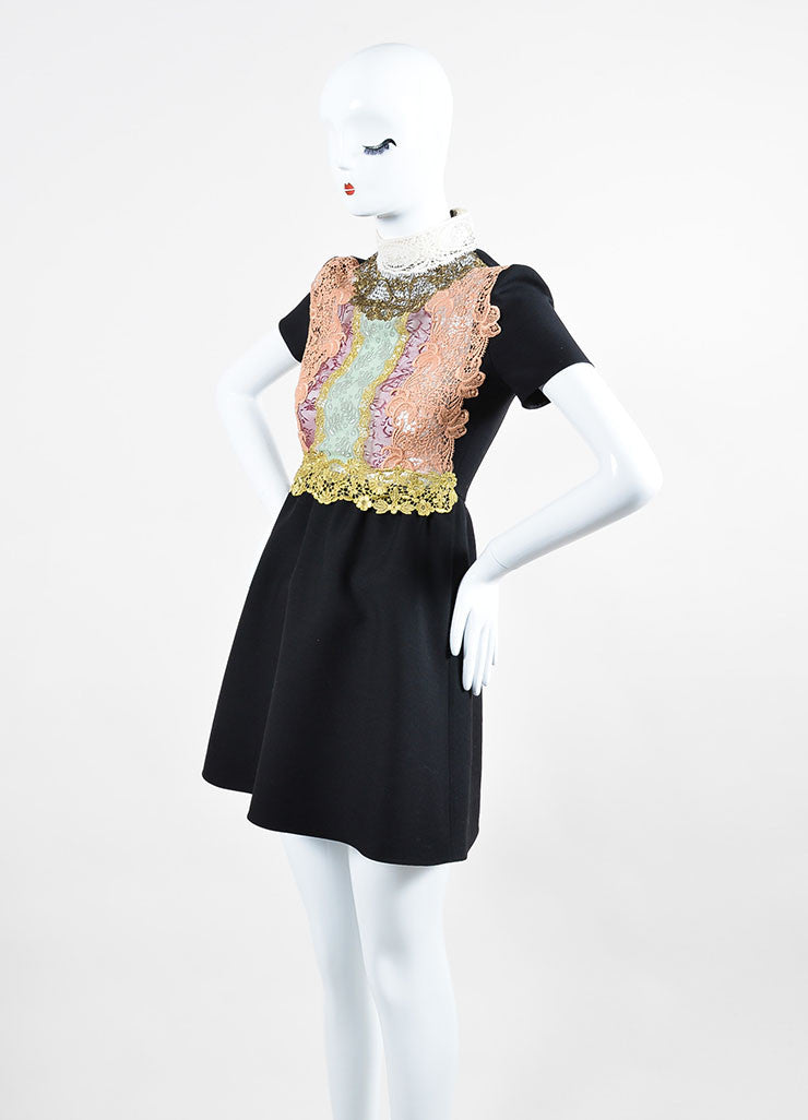 Black and Multicolor Valentino Floral Crochet Lace Short Sleeve Dress Sideview