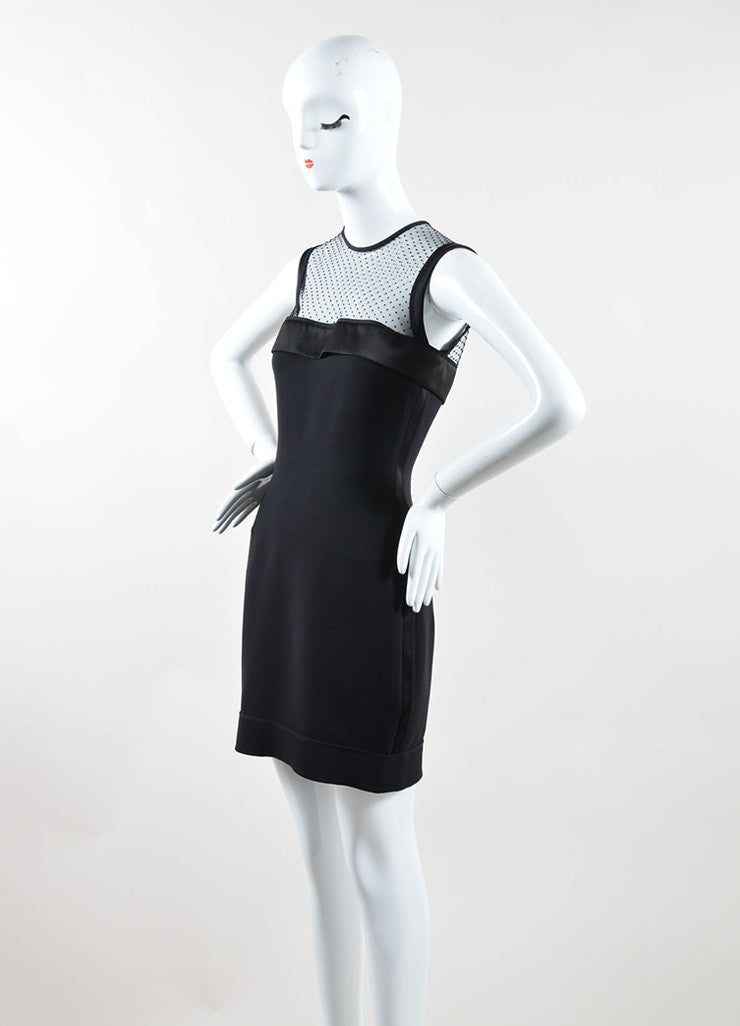 Victoria Beckham Black Silk and Wool Sleeveless Dress Side