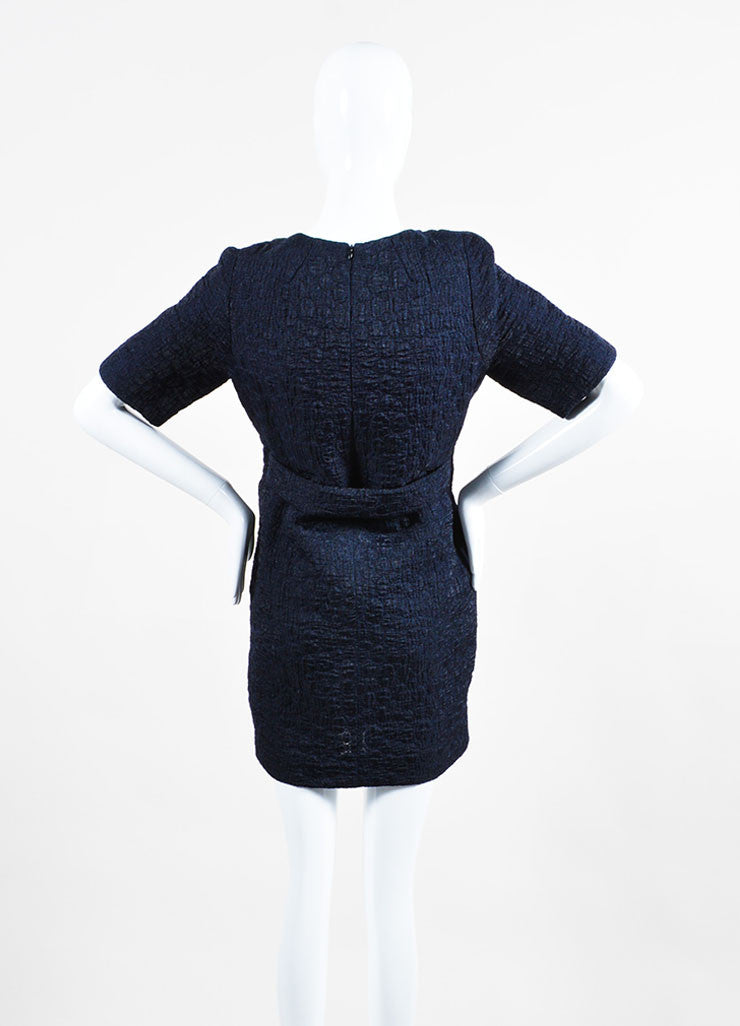 Navy Blue Victoria Victoria Beckham Wool Blend Short Sleeve Belted Dress Backview