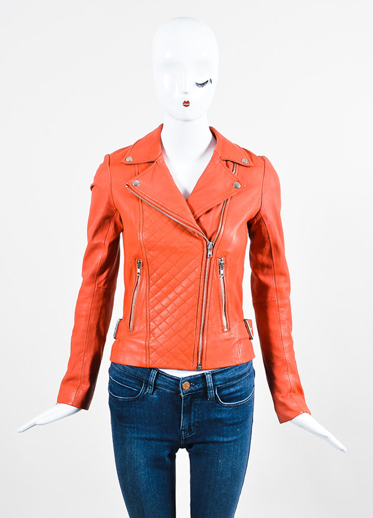 Deep Orange Maje Leather Quilted Moto Jacket Frontview 2