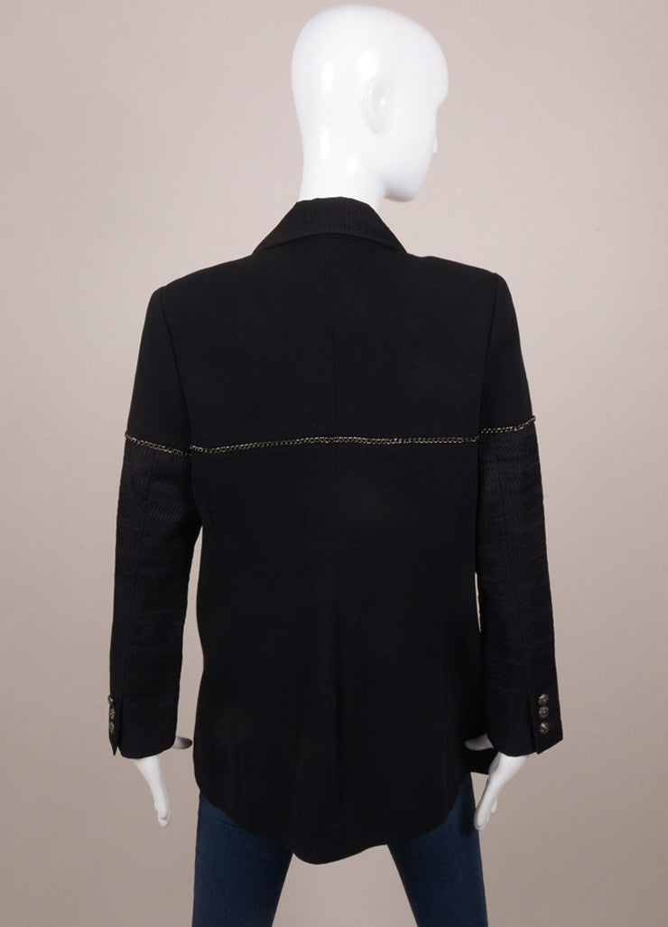 Chanel Black Metallic Textured Chain Trim Long Sleeve Jacket Backview