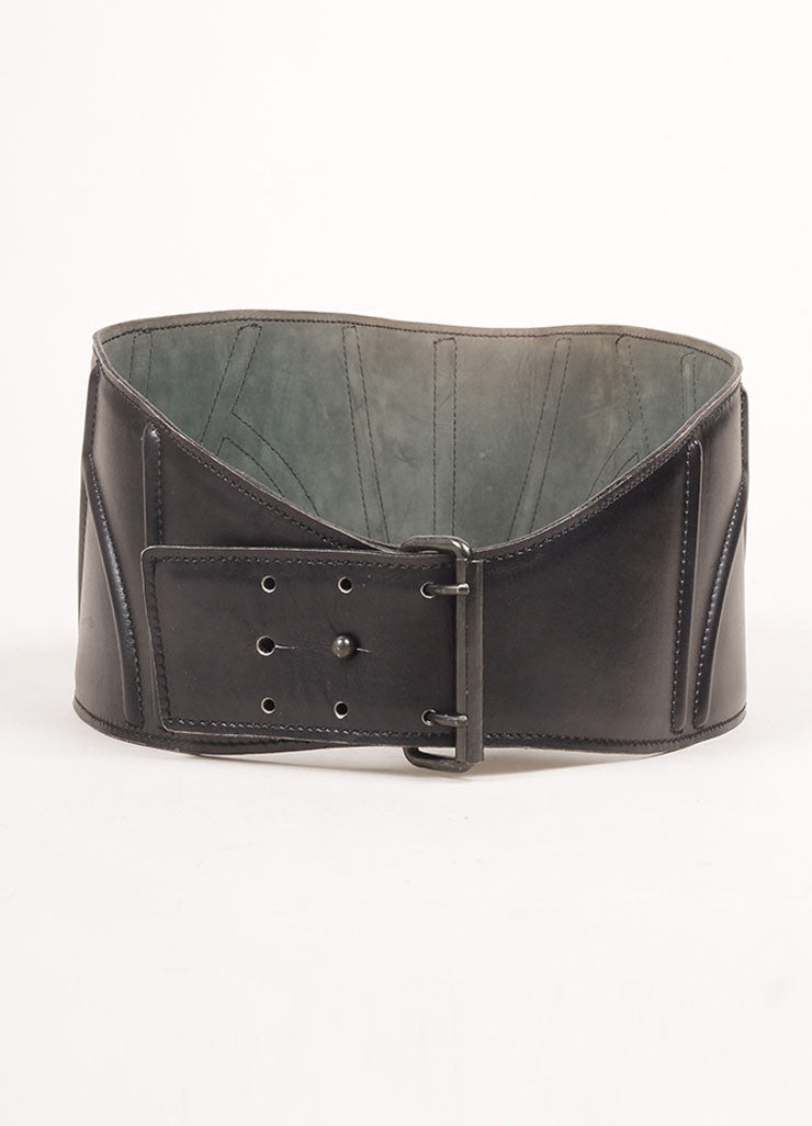 Alaia Black Leather Wide Belt Frontview