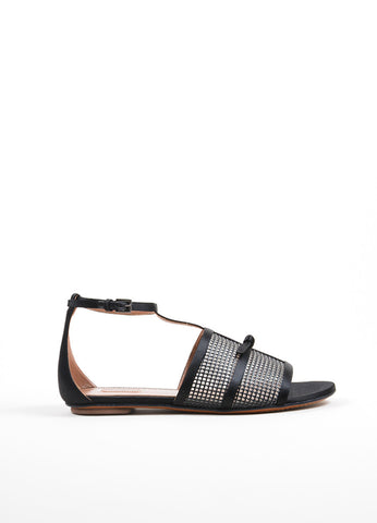 Black Alaia Satin and Mesh Knotted Bow Ankle Strap Sandals Sideview