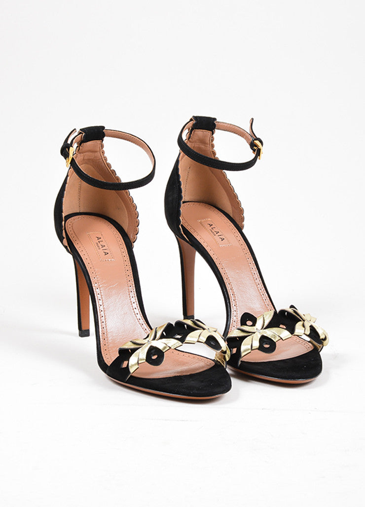 Black and Gold Toned Alaia Suede Leather Cut Out High Heel Sandals Frontview