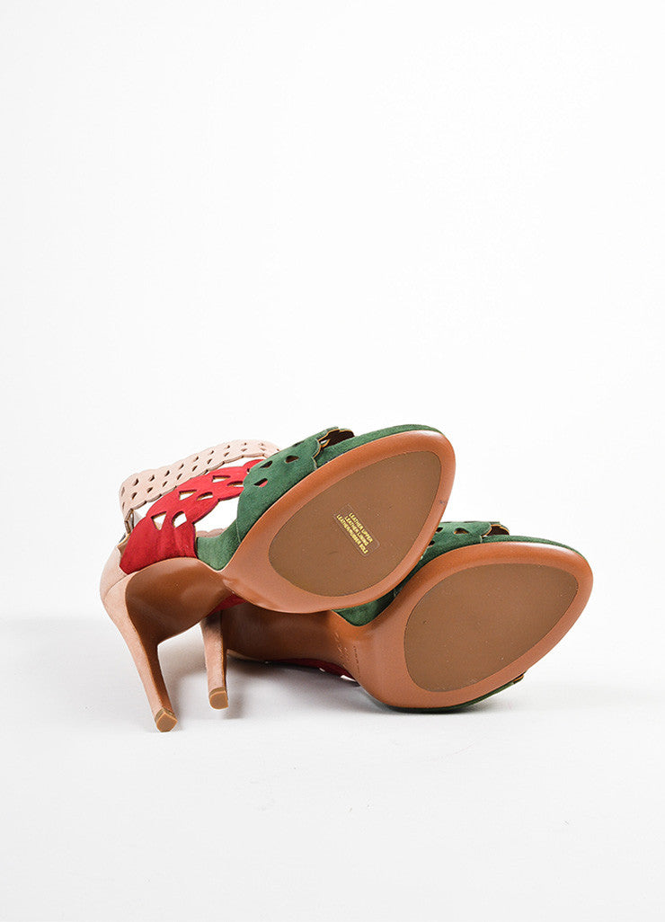 Nude, Red, and Green Alaia Suede Lazer Cut Heeled Sandals Outsoles
