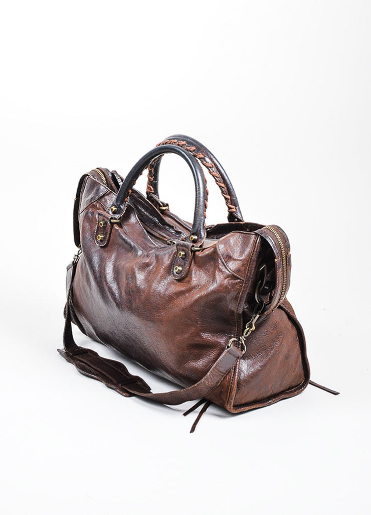 "Chocolate Brown Balenciaga Leather Stitch Handle Fringe ""Classic City"" Handbag Sideview"