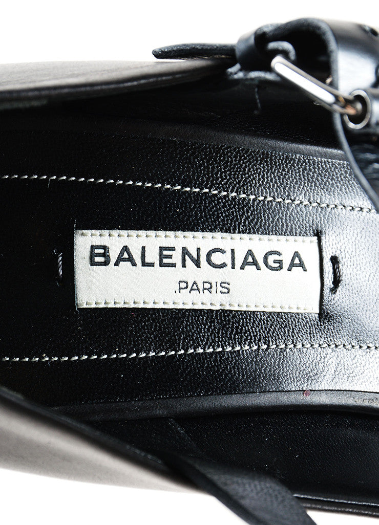Balenciaga Black and Silver Leather Studded T Strap Wedges Brand