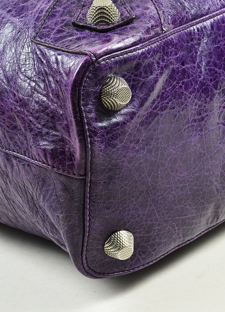 "Balenciaga Purple Wrinkled Distressed Leather Silver Toned Stud ""Giant Step"" Bag Detail"