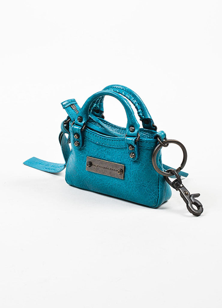"Balenciaga Teal Blue Leather Studded Classic Mini ""Tiny First"" Bag Key Ring Sideview"