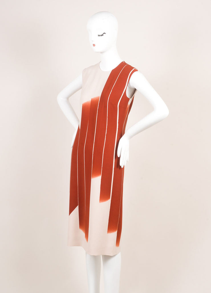 "Bottega Veneta New With Tags Red and Beige ""Faded Lines"" Printed Sleeveless Sheath Dress Sideview"