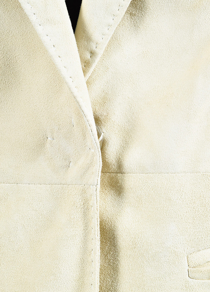 Brunello Cucinelli Beige Suede Leather Cap Short Sleeve Long Vest Jacket Detail