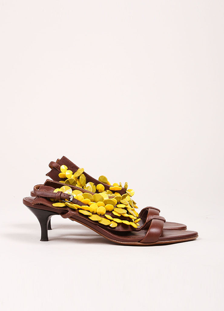"Burberry Prorsum Brown and Yellow Beaded T-Strap Leather Kitten Heel ""Ligonier"" Sandals Sideview"