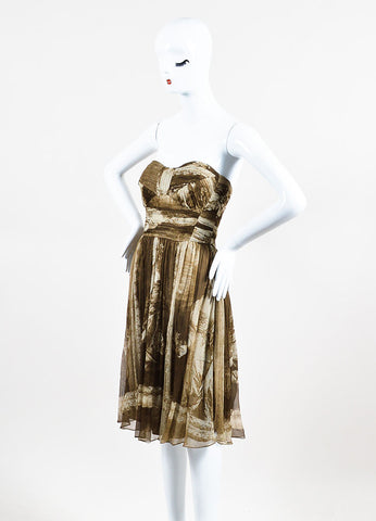 Burberry Brown and Beige Silk Chiffon Italian Print Pleated Strapless Dress Sideview