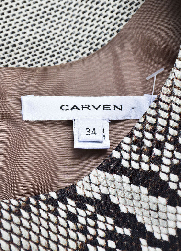 Ecru and Black Carven Python Print Woven Sleeveless Short Dress Brand