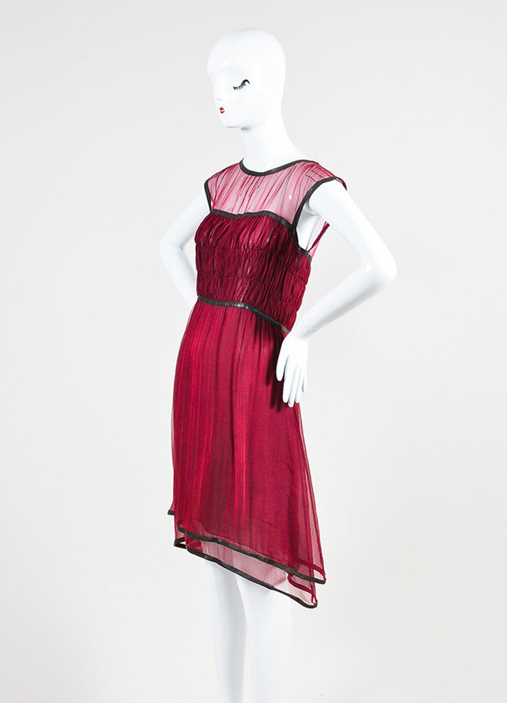 Chanel Burgundy Silk Chiffon Brown Leather Trimmed Sleeveless Dress Sideview