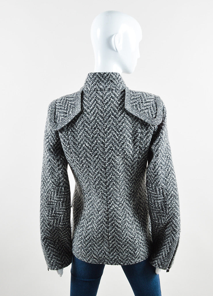 "Chanel Black and White Wool Tweed Zig Zag ""CC"" Button Down Coat Backview"