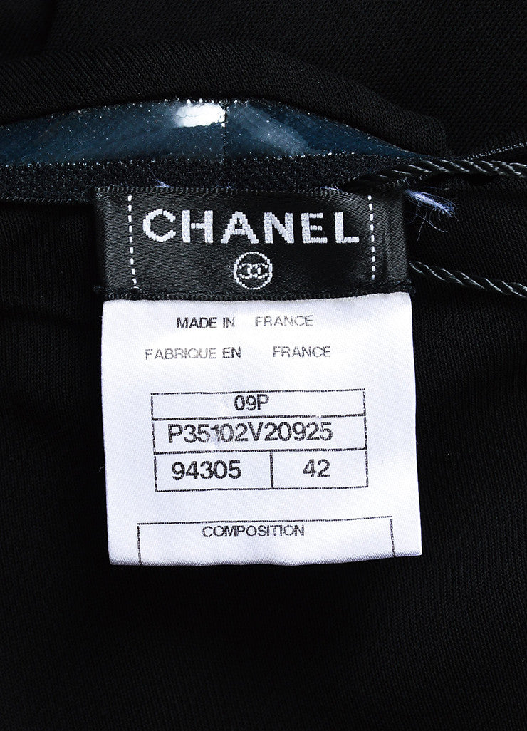 Chanel Black Crepe Jersey Faux Pearl Embellished Pleated Strapless Dress Brand