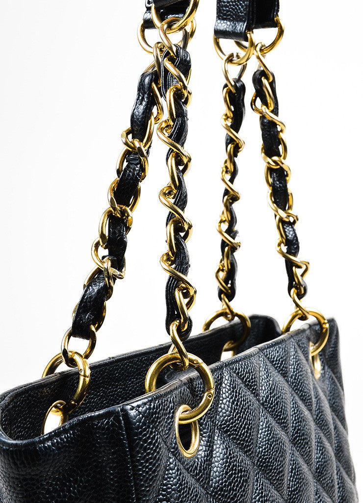 "Black Chanel Caviar Leather Quilted 'CC' Chain Strap ""Petite Shopping"" Tote Bag Detail 2"