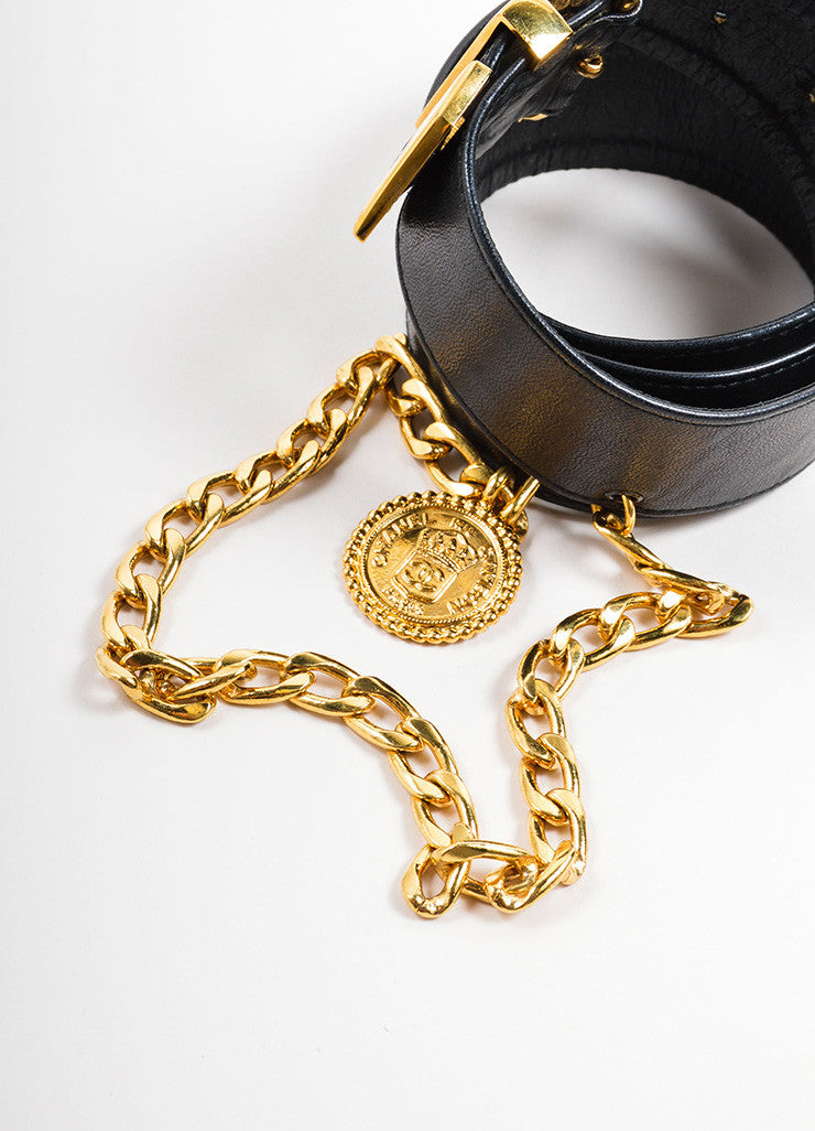 "Chanel Black Leather and Gold Toned Medallion Chain ""CC"" Belt Topview"