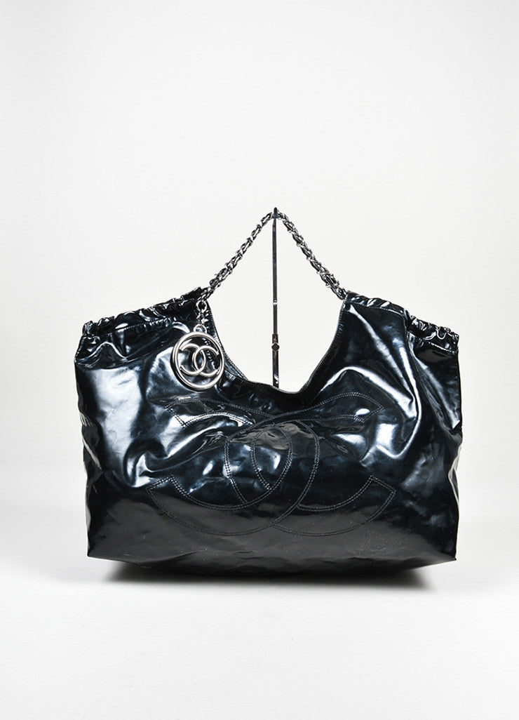 "Black Chanel Patent Vinyl 'CC' ""Coco Cabas Jumbo XL"" Chain Strap Shoulder Bag Frontview"