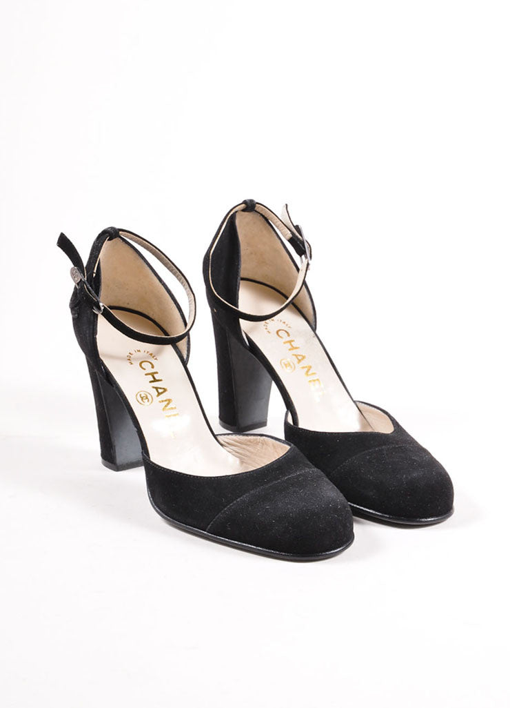 Black Chanel Suede Leather Ankle Strap Round Cap Toe 'CC' Pumps Frontview