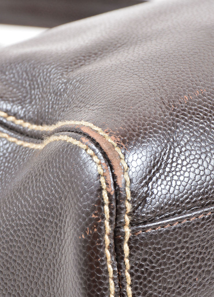 "Chanel Brown Caviar Leather Stitched ""CC"" Tote Bag Detail"