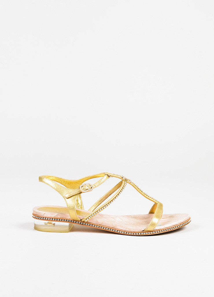 Chanel Gold Metallic Leather 'CC' Logo Rhinestone Lucite Heel Sandals Sideview